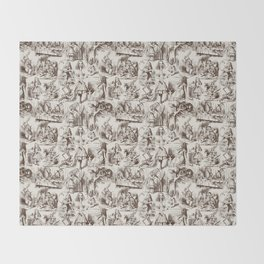 Alice in Wonderland | Toile de Jouy | Brown and Beige Throw Blanket