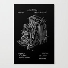 Vintage Camera Patent - White on Black Canvas Print