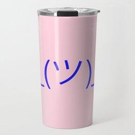 Hands Up Emoji Shrug - Pink and Blue Travel Mug