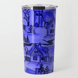 winter village,blue Travel Mug