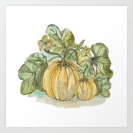 Antiqued Sketched Pumpkin Patch Art Print
