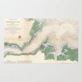 Vintage York River Entrance Map (1857) Rug