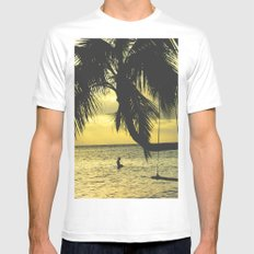 Sunset on the Island MEDIUM Mens Fitted Tee White