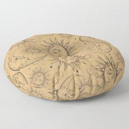 Tan Magic Celestial Sun Moon Stars Floor Pillow