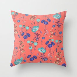 Living Coral Floral Pattern.Color of year 2019 Throw Pillow