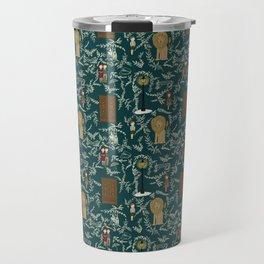 Narnia Lucy Aslan Edmund Teal And Cream Repeat Pattern  Travel Mug
