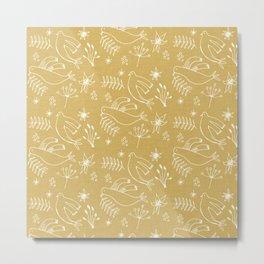 Christmas Dove Beige Metal Print