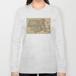 Vintage Massachusetts Railroad Map (1879) Long Sleeve T-shirt