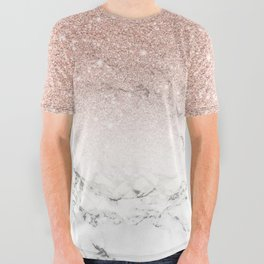 Modern faux rose gold pink glitter ombre white marble All Over Graphic Tee