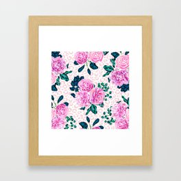 Girly Pink Flowers and Leopard Animal Print Framed Art Print