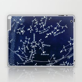 French July Star Maps in Deep Navy & Black, Astronomy, Constellation, Celestial Laptop & iPad Skin