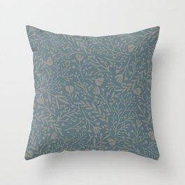 Scattered Flowers, Putty and Teal Blue Throw Pillow