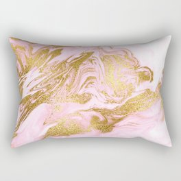 Rose Gold Mermaid Marble Rectangular Pillow