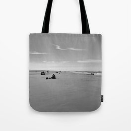 low tide sand beach sunny summer day at ouddorp zeeland netherlands europe black white Tote Bag