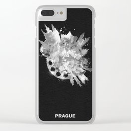 Prague, Czech Republic Black and White Skyround / Skyline Watercolor Painting (Inverted Version) Clear iPhone Case