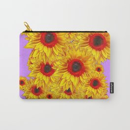 Lilac Purple & Red Center Sunflowers Pattern Carry-All Pouch