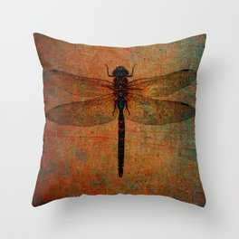 Dragonfly On Orange and Green Background Throw Pillow