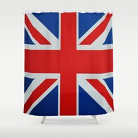 union jack Shower Curtains featuring Union Jack by MICHELLE MURPHY