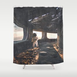 Astronaut in an Abandoned Building Shower Curtain