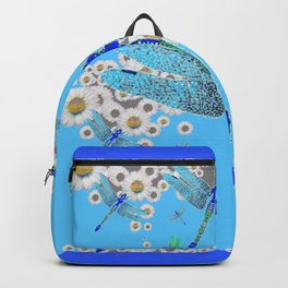 BLUE DRAGONFLIES LILAC WHITE DAISY FLOWERS  ART Backpack