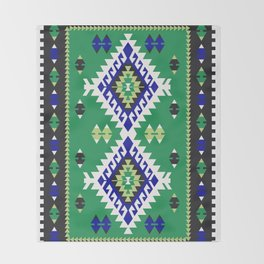 Green Kilim Throw Blanket