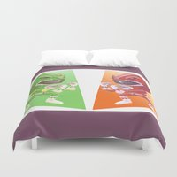 power rangers Duvet Covers featuring Mighty Fightin' Power Rangers by garciarts