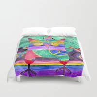 hippie Duvet Covers featuring Hippie Owl by Mesterpieces