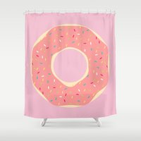 doughnut Shower Curtains featuring #93 Doughnut by MNML Thing