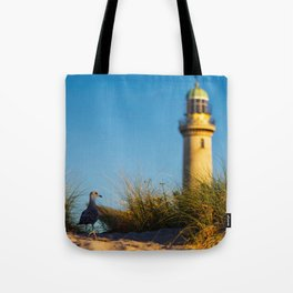 Old lighthouse from Hanseatic city of Rostock Tote Bag