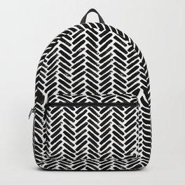 Painted Herringbone Stripe \\ Black & White Backpack