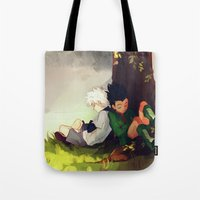 viria Tote Bags featuring Gon and Killua by viria