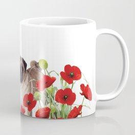 Pug - Poppies Field Coffee Mug