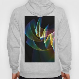 Northern Lights, Abstract Fractal Rainbow Aurora Hoody