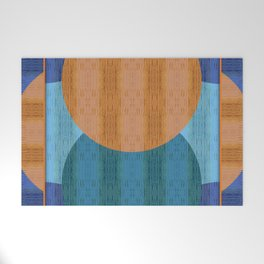 Orange Blues Geometric Shapes Welcome Mat