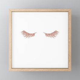 Pretty Lashes Rose Gold Glitter Pink Framed Mini Art Print