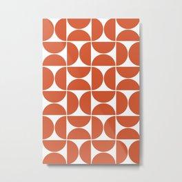 Modern Geometric Seamless Orange Pattern Mid Century Metal Print