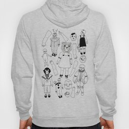 Hand Drawn Creepy Broken Victorian Dolls Print Hoody