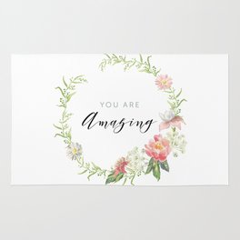 Wreath You are Amazing. Pink flowers Rug