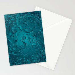 Metallic Teal Floral Pattern Stationery Cards