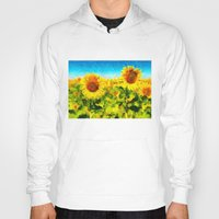 sunflowers Hoodies featuring sunflowers by KrisLeov