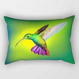 Amazing Fantastic Colorful Exotic Kolibri Humming Bird Hovering Close Up Ultra HD Rectangular Pillow