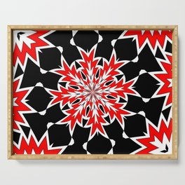 Bizarre Red Black and White Pattern 2 Serving Tray