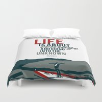 secret life Duvet Covers featuring life is about courage.. the secret life of walter mitty by studiomarshallarts