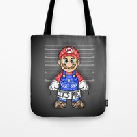 mario kart Tote Bags featuring It's ME, Evil Mario !  by Art & Be