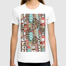 The City of Towers X-LARGE Womens Fitted Tee White