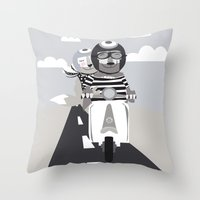 vespa Throw Pillows featuring VESPA by tonadisseny
