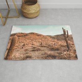 Saguaro Mountain // Vintage Desert Landscape Cactus Photography Teal Blue Sky Southwestern Style Rug