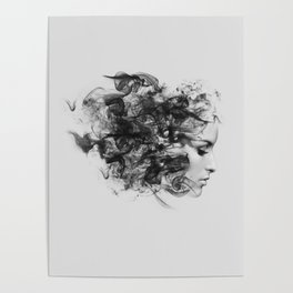 women and smoke, black and white Poster