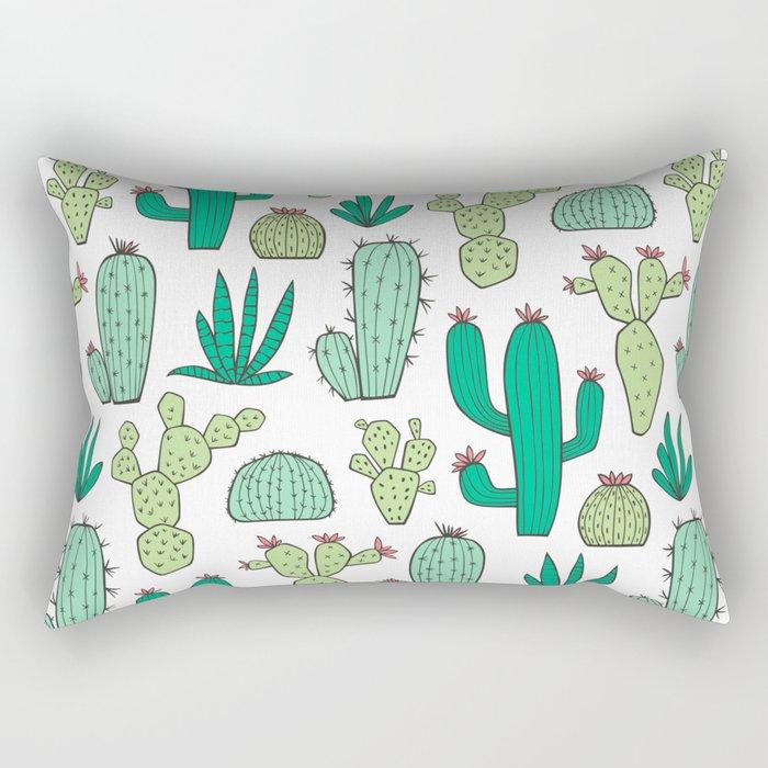 Cactus on White Rectangular Pillow