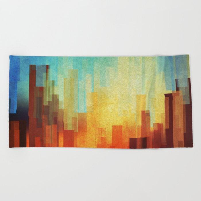 Urban sunset Beach Towel